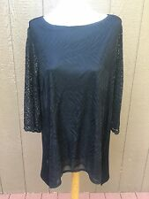 New $89 Chico's Travelers Black Lace Mix Sharkbite Hem Top Size 3 = XL 16 18 NWT