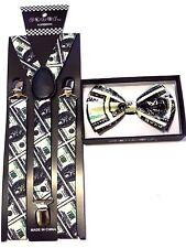 Benjamin Money 100 Dollar Bill SUSPENDERS and BOW TIE COMBO SET Adjustable