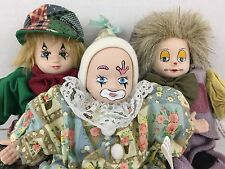 Circus Clown Doll Set of 3 Classic Treasures Cotton Cassandra Aribella Hanna