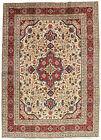 Vintage Floral Oriental Ardabil Rug, 9'x13', Ivory/Red, Hand-Knotted Wool Pile