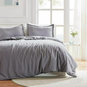 SLEEP ZONE Full/Queen Bedding Duvet Cover Set 100% Washed Microfiber Ultra Soft