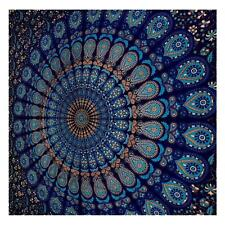 New Indian Blue Peacock Mandala Tapestry Hippie Wall Hanging Queen Size Throw