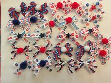 Dog Bows Patriotic July 4th Fancy Dog Grooming Bows Children's Bows Handmade USA
