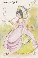 "*Mississippi Postcard-""The Southeren Belle"" //PretyGirl w/Umbrella/ (U2-532)"