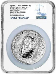 2019 Apollo 50th Anniv 5 Oz Proof Silver Coin NGC PF69 Early Releases
