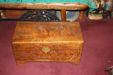 Antique Chinese Wood Carved Large Storage Chest Trunk-Dragons & Men-Detailed