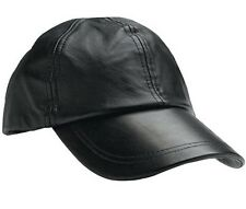 Mens Black Solid Leather Baseball Ball Cap Hat Biker Trucker Sports Visor