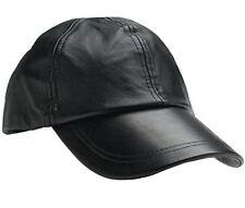Mens Black Solid Leather Baseball Ball Cap Hat Biker Trucker Sports Visor