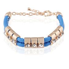 Blue Fashion PU Leather & Gold Rhinestones Wrap Woven Bracelet Bangle BB71