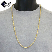 """30""""MEN's Stainless Steel 3.5mm Gold Smooth Bullet Link Chain Necklace*58g"""