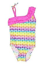 NWT $26 Pink Multi Colored Rainbow Hearts Ruffle 1 PC Swim Swimsuit 2T  NEW