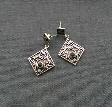 STERLING SILVER ETHNIC ONYX LARGE STUD EARRINGS  925 SOLID
