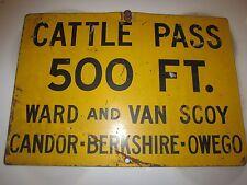 vintage metal cattle pass crossing sign Candor Berkshire Owego