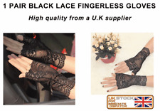 BLACK LACE Stretch Fingerless Gloves wedding prom  sexy and classy gloves