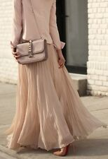 sRare!!! Authentic Zara beige nude pleated maxi long skirt Size S Sold Out
