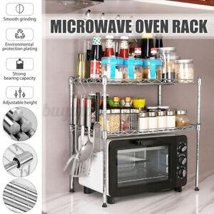 Adjustable Microwave Oven Rack Bottle Jar Shelf Kitchen Storage Holder Stand AU