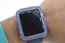 Mens & Ladies Sterling Silver White Finish Purple Cz Apple Watch Bezel 42mm S1