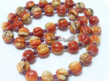 VINTAGE NATURAL CARVED APPLE CORAL, GARNET BEADS NECKLACE 45 GRAMS, silver clasp