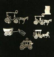 Vintage Sterling Silver Stagecoach Charms Lot Of 5 Carriages Horse Wagon 925