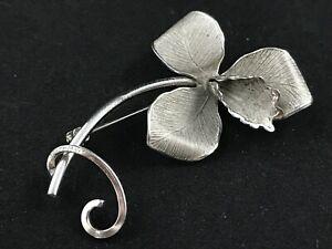 Vintage 1930s-1940s ECCO sterling silver chromed flower brooch