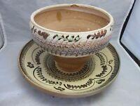 Bulgarian Troyan swirl glaze pottery flower pot & plate