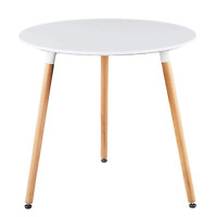 White Round Top Kitchen Dining Table Modern 4 Wood Legs Leisure Tea Table Office