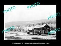OLD LARGE HISTORIC PHOTO OF WILLIAMS LAKE BC CANADA, THE RAILWAY STATION c1910