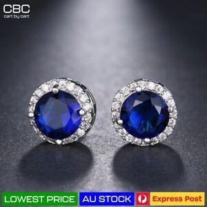 Blue Stone Classic Emerald Gem Crystal Lab Diamond Cutting Stud Earrings Gift