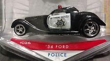 Jada Badge City Heat 1934 34 Ford 3 Window Coupe Police Car 1/64 Highway Patrol