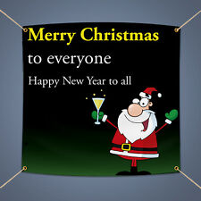 Merry Christmas Wish Banner Outdoor Garden New Year Party Decor Vinyl Sign 3'X2'