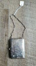 Antique Sterling Silver Calling Card Case, Coin Purse, Compact, Wrist Chain EUC