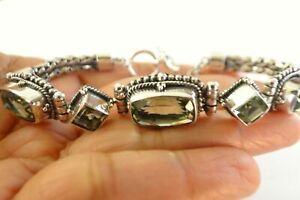 Green Amethyst Prasiolite Ornate Balinese Sterling Silver Toggle Bracelet