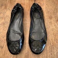 Tory Burch Reva Black Patent Leather Ballet Flats Women's Size 11