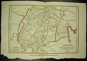 L'Arcadie Laconie Argolide Cynurie Elide Carte c 1790 J D Barbié du Bocage map