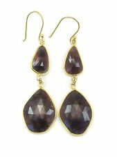 Dark Red Sapphire Earrings Natural Bezel Double 14k Solid Yellow Gold Drops 2.5