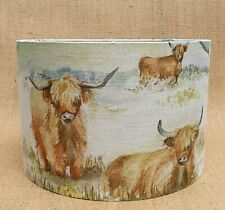Handmade Voyage Decoration HIGHLAND CATTLE cows calf drum lampshade small medium
