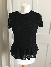 Top Shop Black Lace Peplum Top Size 6 BNWOT