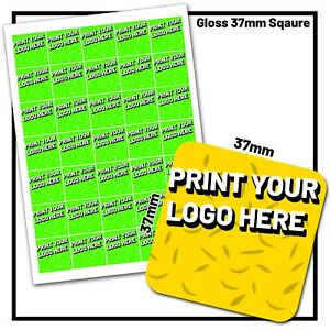 Personalised Stickers Custom Printed Business Company Logo Square Gloss Labels