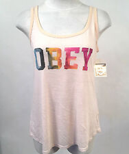 Obey Women's Tank Top Collegiate Watercolor White Smoke XXS NWT Shepard Fairey