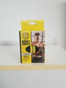 Wrist Straps 2 Wraps by Gold's Gym Increase Stability Weight Lifting Black 3x12