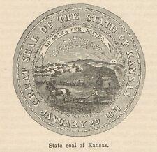 C8329 Kansas - State Seal - Stampa antica - 1892 Engraving