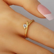 Chic Womens Wedding Yellow Gold Filled Clear Cubic Zirconia Ring Size 6.5