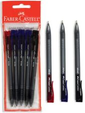 FABER-CASTELL RX10 SET BLUE BLACK RED INK RETRACTABLE SEMI GEL PEN 5pcs PACKED