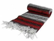 """Red Authentic Mexican Blanket Hand Woven 73"""" X 48"""""""