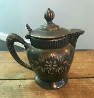 Antique Manhattan Company Quadruple Silverplate Lidded Creamer Pitcher Floral