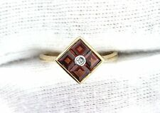 10Kt REAL Yellow Gold Square Garnet Gemstone Gem Diamond Ladies Ring Size 6.5