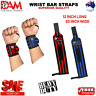 DAM WEIGHT LIFTING GYM TRAINING WRIST SUPPORT STRAPS BODYBUILDING BLACK/BLUE/RED