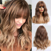Brown to Blonde Ombre Synthetic Wavy Curly Wigs Hair Bangs Medium Wig for Women