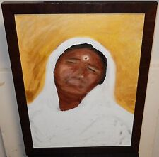 INDIAN WOMAN ORIGINAL OIL ON CANVAS PAINTING SIGNED ON BACK NROB