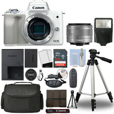 Canon EOS M50 Mirrorless Digital Camera with 15-45mm STM Lens White+ 32GB Bundle